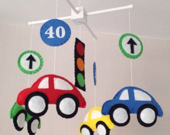 Baby Mobile - Cars Mobile - Transport mobile - Cot Mobile - Crib mobile - Baby boy mobile - Nursery decor - cars and road signs