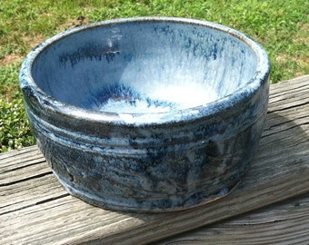 Wheel Thrown Ceramic Bowl (Blue, with Etchings)