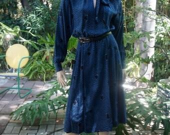 Blue, striped, secretary dress.  1980's.  Size 6.