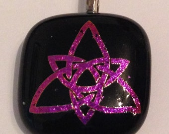 Pink and Black Celtic Knot Fused Glass Pendant