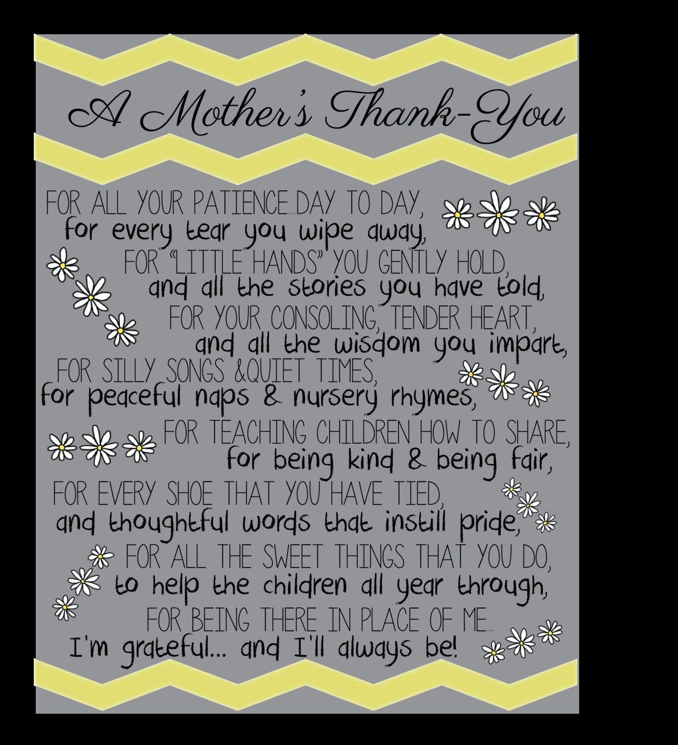 A Mother S Thank You By Ardentprint On Etsy