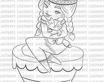 Digital stamp - Indian Girl. digital stamp.friendship digital stamp. Vintage digital stamp. Pin up girl digital stamp. LiaStampz