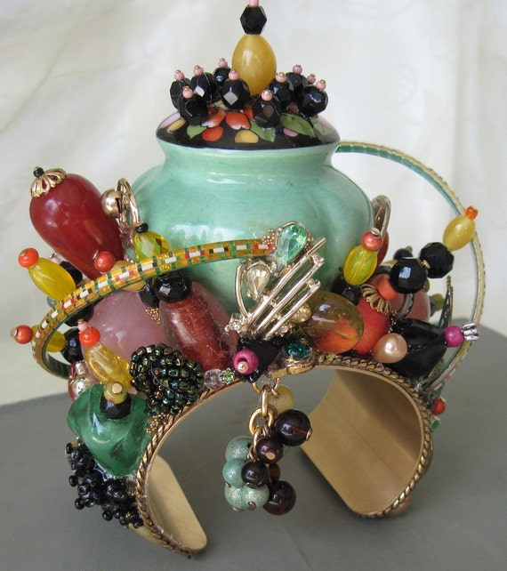 Old Salt Shaker Cuff Bracelet, Repurposed Vintage Jewelry, Hand Crafted OOAK, Art Glass Beads Incorporated