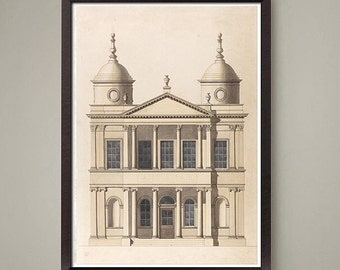 Old Architectural drawing art print. Nice home or office decor, great gift. Size 8 x 10 inches.