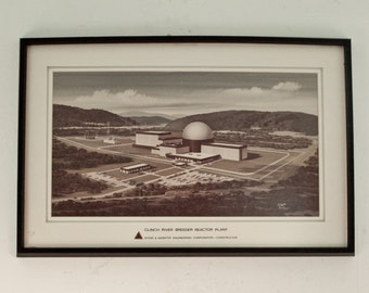 Vintage Nuclear Reactor Atomic Energy Plant / Framed Print from 70's