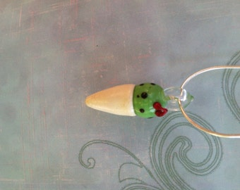 ICE CREAM CONE petite Glass Mint Chocolate Chip Ice Cream w/ Cherries! and Sterling Silver Chain