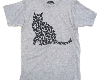 Kitty Mens T-Shirt, Screenprinted Tshirt, Heather Grey, Cat Silhouette Tshirt