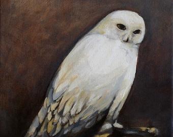 Owl painting - original oil painting giclee print / Snowy Owl