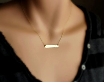 Gold Bar Necklace, Personalized Name Plate Necklace / Delicate Horizontal Bar Necklace / Simple Nameplate Necklace Gold, Silver Initial