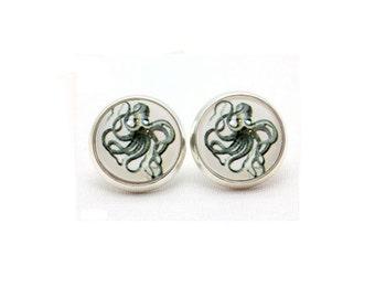 Octopus Jewelry,  Jewellery, Earrings, Octopus Earrings, Post Earrings, Stud Earrings, Nautical Earrings, Steampunk Earrings, Silver Octopus
