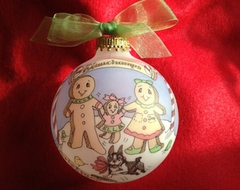 Gingerbread Family Personalized Ornament, Handpainted, Customized Ornament, including display stand