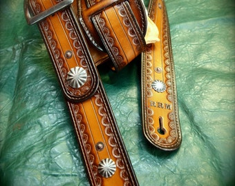 Leather Guitar strap Hand tooled, Handmade, OUTLAW Cowboy Rockstar Light brown fade made for YOU in NYC by Freddie Matara