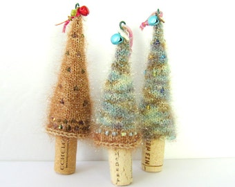 Items similar to knit wine bottle topper set of two wine for Wine bottle christmas tree frame for sale