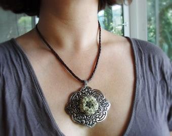 Sputnik Sea Urchin Necklace Leather Oriental Jewelry One of a kind Sea Urchin Jewelry