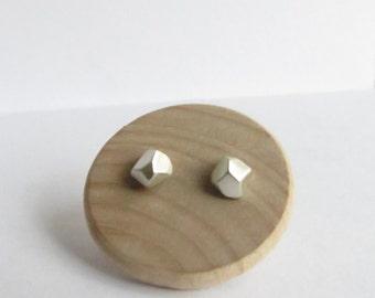 Minimalist Faceted Pebble Stud Sterling Silver Earrings. Sterling Silver Stud Earrings. Minimalist Pebble Studs.