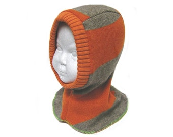Cotton balaclava hat toddler 12 to 24 months orange lined helmet SALE