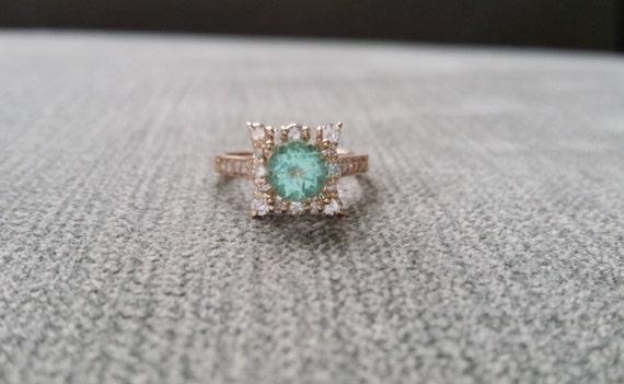 Mint Apatite and Diamond Engagement Ring Halo Square Vintage Antique Blush  Blue Aqua Peach 14K Rose