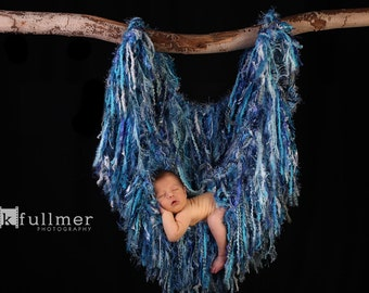 Fringe Photography Prop Baby Hanger Tree Branch Nest Hammock, Blue 'Cascade' or Choose Colors