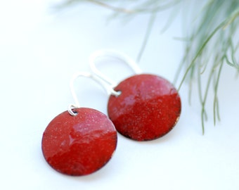 Red Earrings, Enameled Copper Earrings, Geometric Earrings, Christmas Jewelry, Holiday Earrings, Dangle Earrings - Christmas Eve