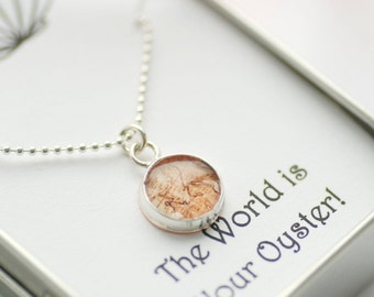 Map Necklace, Personalized Jewelry, Graduation Gift, Inspirational Jewelry, Daughter Gift, Traveller's Gift, Silver Necklace, Under 50