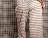 Summer Yoga Pants, white stripe pants, grey stripe lounge pants, Loose fit, wide leg. Small comfortable pants