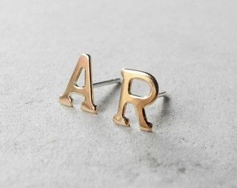 Initial Earrings, Custom Earrings, Personalized Jewelry, Golden Brass Letter, Initial Stud Earrings, Unisex Hypoallergenic Studs (E218)