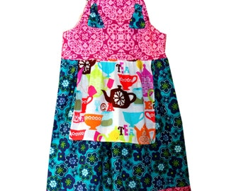 Girls Knot Dress Girls Tea Dress Teal Purple Dress Sizes 2 3 4 5 6 7 8