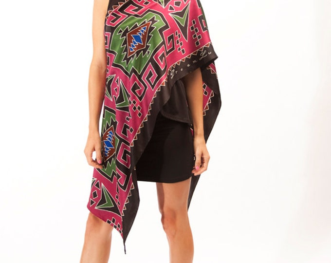 Tribal Silk Scarf, Hand Painted scarf, Batik scarf, Tribal print scarf, Red scarf, Unique gift ideas, Beautiful scarf, Unique scarf