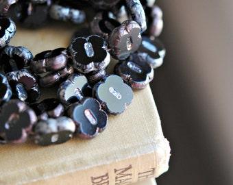 Storm Clouds - Czech Glass Beads, Opaque Jet Black, Metallic Picasso, Clover Flowers 12mm - Pc 6