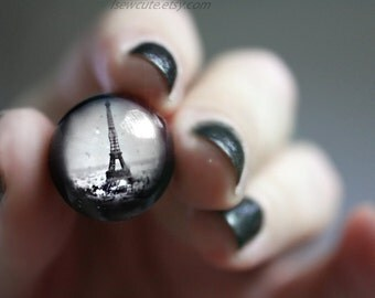 Paris, Eiffel Tower Ring, Adjustable Ring Eiffel Tower Romantic Francophile Travel Gift Idea, Paris, France Resin Glitter Ring by isewcute