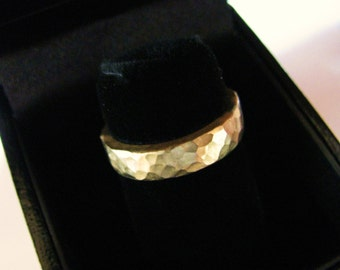 4mm Hammered Thick Heavy Gold Wedding Ring Band Comfort Fit Handmade 18K  or 22K