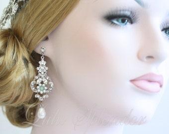 Blue Bridal Earrings Blue Wedding Jewelry Chandelier Wedding Earrings Choice of Blue Art Deco Earrings  AMY