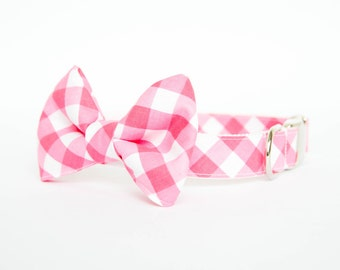 Bow Tie Dog Collar - Pink Gingham