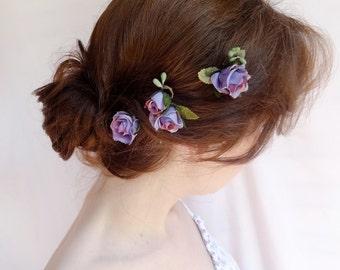 flower hair pins, rosebud bobby pins, purple bridal hair accessories, flower girl, rustic wedding, small  hairpiece, wedding hair accessory