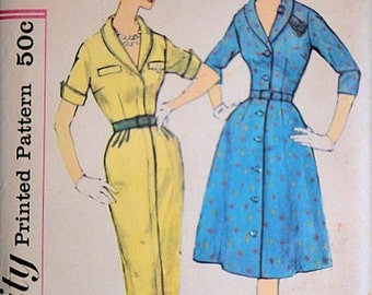 Vintage 50's Simplicity 3088 Sewing Pattern, Misses' dress With Two Skirts, Size 18, Bust 38, Uncut