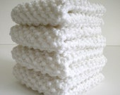 Knitted Dish Cloth / White Dish Cloth / Cotton DIsh Rag / White Wash Rag / White Retro Rag / Knitted Wash Cloth / under 10 gift