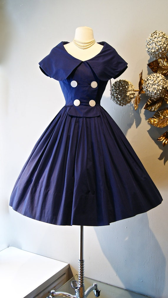 50s Dress Vintage 1950s Navy Blue Sailor Dress With Full
