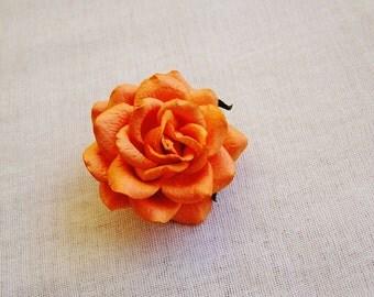 Mandarin Orange Sweetheart Rose Millinery flower Brooch Pin- wedding corsage boutonniere, paper jewelry, decoration, embellishment