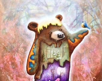 Surreal Art Print -  Bear Art -  Nature -  Tree Art -  Bears -  Bird Art