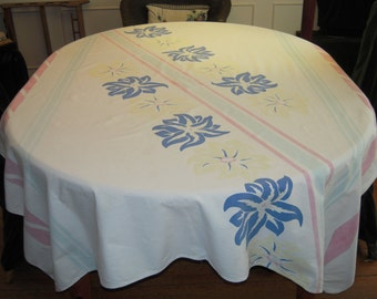 Vintage Tablecloth Lovely Lilies and Stripes
