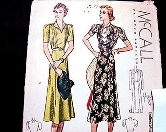 1930s Dress Pattern McCalls Misses Size 16 Bust 34 Womens Dress Vintage Sewing Pattern