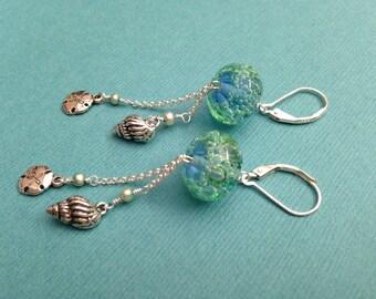 Ocean Lampwork Earrings Sterling Silver Chain Sand Dollar Shell Charm Freshwater Pearl Earrings Blue Green Earrings Beach Earrings