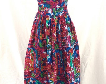 80s Indian Color Splash Cotton Batik Dress // Summer // Boho