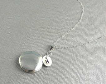 Silver Personalized Necklace Locket, Initial Necklace Locket, Small Silver Locket, Sterling Silver Chain, Hand Stamped Locket