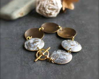 SALE - White Wash Patina Charm Bracelet Rustic Distressed Metal Domed Disk Gold Boho Jewellery
