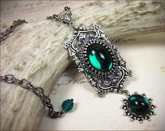 Emerald Renaissance Necklace, Victorian Necklace, Medieval Jewelry, Ren Faire, Renaissance Bride, Tudor, GothCath