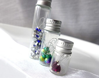 Glass Vial with Screw Top Lid - Stitch Markers Holder - Markers In a Bottle - Six Sizes Available