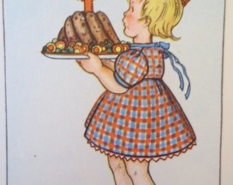 Vintage Postcard, Birthday Card, German Card, Happy Birthday, Birthday Postcard,  Birthday Cake, Springtime, Zakka Girl, Heartfelt Birthday