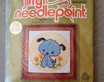 Vintage Needlepoint Kit,  Puppy Needlepoint, Puppy Dog, 1970s Crafting, Sunset Designs, Jiffy Needlepoint, Cute Kawaii Dog Stitchery #5591