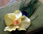 Simple Lemon Yellow Orchid - Tribal Belly Dance Hair Art Fascinator Clip